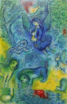 """The Magic Flute""  --  1966  --  Marc Chagall  --  Russian, later French  --  Lithography on paper  --  A poster created by Chigall for The Metropolitan Opera, NYC."