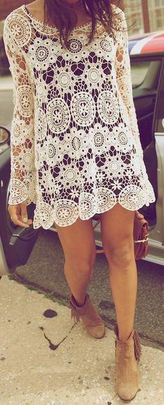 beautiful lace mini dress in http://dailyfashforfashion.blogspot.ca/2014/12/ivory-boho-dress-with-brown-fringe.html