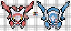 Latias and Latios alpha pattern (grid in the middle is only to show what colors are used (white doesnt show, of course), each pokemon is 7 colors)   How to Make Bracelets from Paper-Recycled Beads | How to make Bracelets: Bracelets are never out-of-style, and always trendy to be worn around. Not only they are great on ever occasions as neat and stylish accessories, but they are also perfect as a