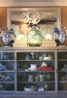 an elegant display cabinet using elements of the sea