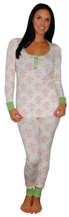 Bedhead Pink & Green Fleur Noel Stretch Henley Pajama