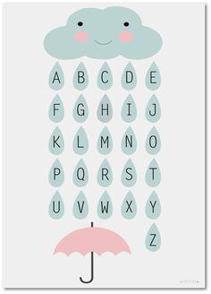 """Poster Kinderzimmer ♥ Wolke """"ABC"""" Poster ♥ Das ABC Kinderposter eignet sich hervorragend als: - Poster im Kinderzimmer – Wanddekoration im Kindergarten/ in der Schule - Geschenk für..."""