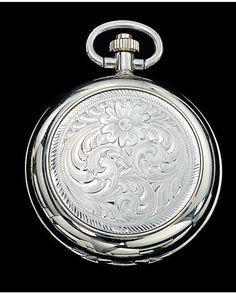 Montana Silversmiths Silver Engraved Pocket Watch