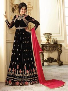 Black+Color+Designer+Pakistani+Salwar+Kameez+Bollywood+Anarkali+Suit