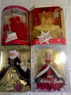 Happy Holiday Barbie Collector Set of 4 1988 1989 1996 2007 | eBay