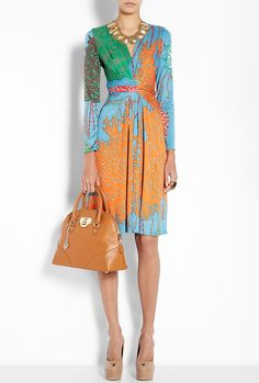 love this print and the cut of this dress!   ::sigh::Issa  Multicoloured False Wrap Printed Silk Jersey Dress