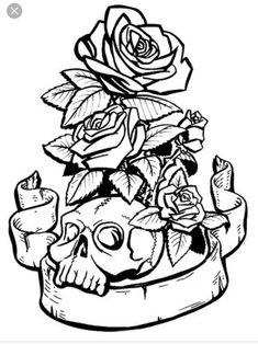More skulls and roses Skull Coloring Pages, Free Adult Coloring Pages, Colouring Pages, Coloring Books, Colouring Sheets, Cat Skull, Skull Art, Mom Tattoos, Skull Tattoos