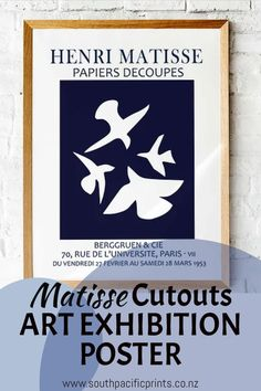 Reproduction Matisse Exhibition poster #Les_Oiseaux (The Birds) 1947 #Artwork ... #HenriMatisse #ExhibitionPoster Reproduction #Vintage #ArtHistory #Printable #Homedecor #wallart #artprint #affordableart Henri Matisse, Handmade Shop, Handmade Crafts, Matisse Cutouts, Cut Out Art, Art Exhibition Posters, Art And Hobby, Mother In Law Gifts, Pin Pin
