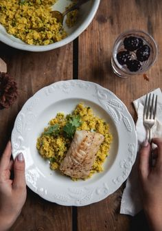 Seared cod and grilled cauliflower couscous. Clean Recipes, Fish Recipes, Seafood Recipes, Healthy Recipes, Cauliflower Couscous, Grilled Cauliflower, Risotto, Grilled Cod, Nordic Recipe