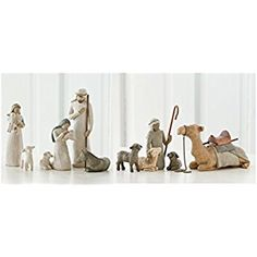 Willow Tree Nativity Holy Family and Shepherd and Stable Animals Set of 10 Figures Willow Tree Nativity Set, Holy Family, Collectible Figurines, Home Kitchens, Sculpting, Place Card Holders, Hand Painted, Animals, Collection