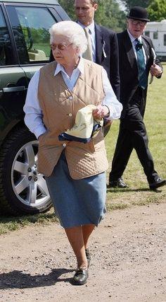 Queen Elizabeth II in country clothes.