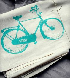 Blue Bike Print Tea Towels