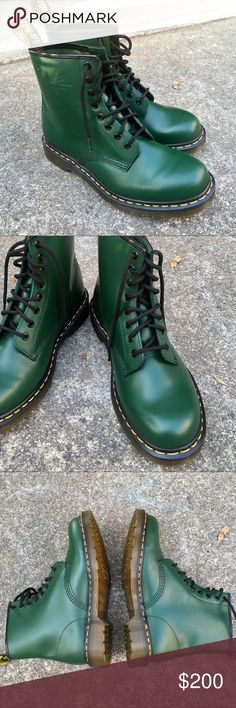 Gorgeous Green Dr. Martens Boots 41 These beautiful boots have never been worn; there is not a scratch on them, and the soles are perfectly clean. My husband bought them in London and never wore because they are too small for him. They are a size 41. Men's 8 and women's 9-10. These are definitely unisex. The color is such a gorgeous forest green. Posh says 41 translates to 11. I am not sure about that. Best if you know your European sizing. Also I can measure them for you. Dr. Martens Shoes…