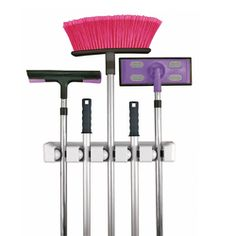 This broom holder has five slots.  The rolling ball design of this broom organizer grips handles of varying thickness. The holder includes a mounting template and all hardware for easy installation.
