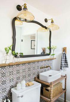 9 Trusting ideas: Bathroom Remodel Diy How To Make basement bathroom remodel small.Bathroom Remodel Grey Built Ins mobile home bathroom remodel website. Eclectic Bathroom, Bathroom Styling, Bathroom Interior, Parisian Bathroom, Bathroom Furniture, Bathroom Lighting, Downstairs Bathroom, Bathroom Renos, Bathroom Ideas