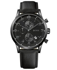 Hugo Boss Watch, Men's Chronograph Black Leather Strap 44mm 1512567 - Watches - Jewelry & Watches - Macy's