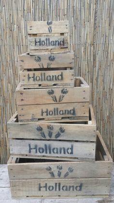 Oude look kisten. Robuuste veilingkratjes... erg leuk om mee te decoreren in huis. Kijk op www.worldoutdoorshop.nl voor meer soorten houtenkisten.