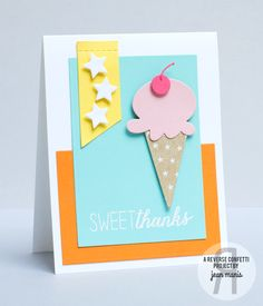 Donut You Know stamp set (sentiment); Confetti Cuts sets: Oh My Stars, Stitched Flag Trio, Love & Ice Cream