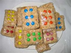 rice crispy treats for lego party...or game night party...make them look like dominos