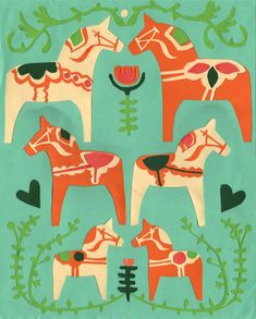 Dala horses for a fabric design
