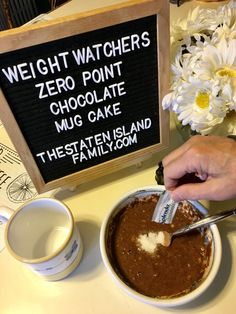 This Recipe for Weight Watchers Zero Point Chocolate Mug Cake Will Add a Pep to your Step The scoop on parenting, marriage, recipes, fashion, beauty & kid gear!This Recipe for Weight Watchers Zero Point Chocolate Mug Cake Will Add Weight Watcher Mug Cake, Weight Watchers Smart Points, Weight Watchers Desserts, Weight Watchers Recipes With Smartpoints, Weight Watchers Brownies, Weight Watchers Muffins, Weight Watchers Program, Weightwatchers Recipes, Weith Watchers