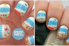 Beauty and the beach :) cute nails to do for the summer!