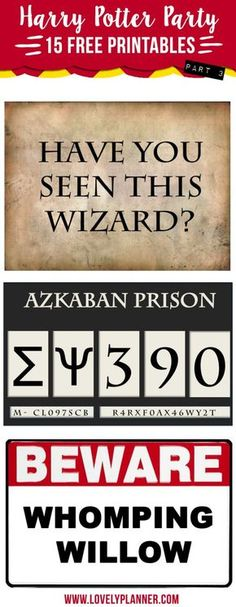 15 free Harry Potter Party printables: including Prisoner of Azkaban photobooth props, whomping willow, etc. Baby Harry Potter, Harry Potter Motto Party, Harry Potter Fiesta, Harry Potter Thema, Classe Harry Potter, Harry Potter Halloween Party, Harry Potter Classroom, Theme Harry Potter, Harry Potter Printables