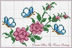 """587 Beğenme, 5 Yorum - Instagram'da etaminci hanim (@etamin_sablon_): """"Bana göre en güzel havlu şablonlarından💙"""" Small Cross Stitch, Butterfly Cross Stitch, Cross Stitch Heart, Cross Stitch Borders, Cross Stitch Flowers, Cross Stitch Designs, Cross Stitching, Cross Stitch Embroidery, Cross Stitch Patterns"""