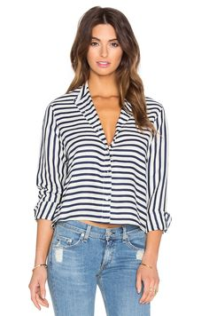 rag & bone/JEAN Crop Leeds Button Up in Stripe