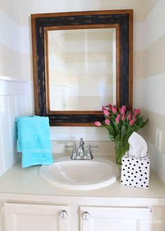 wow! i am surprised someone hasn't made a gadget like this for sale. love it! decorating ideas for mirrors in a powder room