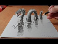 How I Drew a Loch Ness Monster. How to Draw Monster. trick art dragon on paper. The legend is back! Anamorphic illusion a Loch Ness Monster. Sea Monster on paper. How to draw Water Dragon. Artistic drawing with Drawings On Lined Paper, 3d Pencil Drawings, 3d Art Drawing, Pencil Art, Cool Drawings, Paper Drawing, Illusion Kunst, Illusion Drawings, Illusion Art