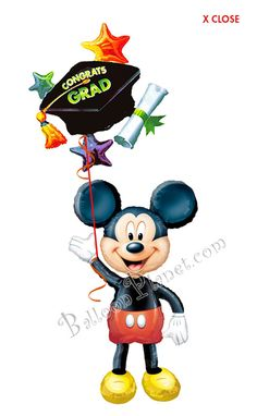 Grad Cap Mickey Balloon Bouquet (2 Balloons) Graduation Balloons, Graduation Day, Mickey Balloons, Balloon Delivery, Grad Cap, Balloon Bouquet, Minnie Mouse, Disney Characters, Graduation Parties