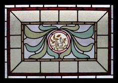 Rare-Art-Nouveau-Painted-Birds-Antique-English-Stained-Glass-Window