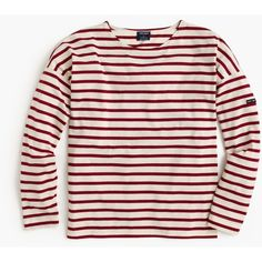 Saint James For J.Crew Slouchy T-Shirt (1 700 ZAR) ❤ liked on Polyvore featuring tops, t-shirts, breton stripe shirt, slim tee, striped tee, loose fit t shirts and pink t shirt