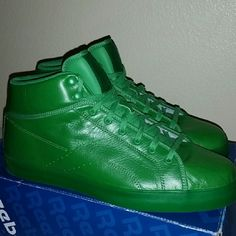 Hulk Green Reebok Men's Brand new never worn has original box all soft leather high tops with green laces ,green soles . 100% authentic  Men's size 10.5 Reebok Shoes Sneakers