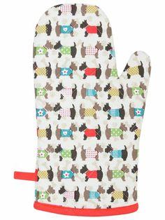 Scotty dog print oven glove