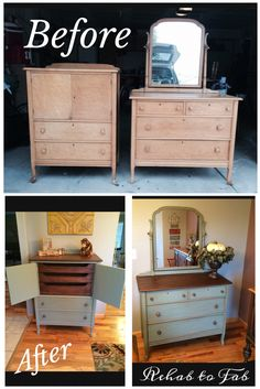 Before & After of Antique Gentlemens chest & chest with mirror done by Rehab to Fab. @generalfinishes Basil milk paint, Van Dyke brown glaze, Java & Arm-r-Seal.