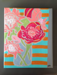 Original acrylic painting modern floral pink flowers still life orange turquoise canvas 8x10 happy chic