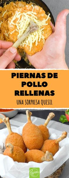 Cooking with bones. Particularly crispy: Chicken thigh filled with mozzarella Healthy Dinner Recipes, Appetizer Recipes, Snack Recipes, Snacks, Sweet Potato Spinach, Braised Chicken, Fried Chicken Recipes, Crispy Chicken, Cuban Recipes