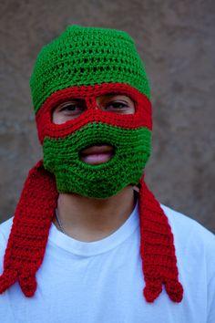 Raphael from Teenage Mutant Ninja Turtles crochet beanie.