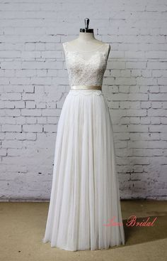 Champagne Underlay Wedding Dress Bateau Neck Wedding by LaceBridal #weddingdress