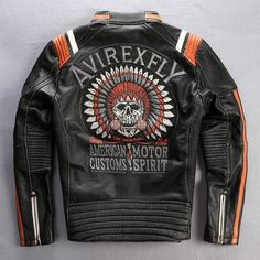 Men genuine cow leather motorcycle rider jacket- Free shipping