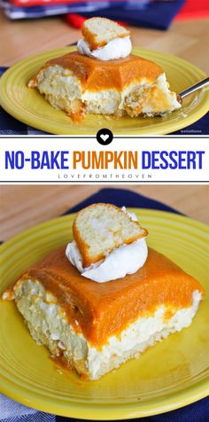 Easy No-Bake Pumpkin Dessert Recipe. This no bake pumpkin cake is perfect for fall and great for Thanksgiving. Super easy to make.