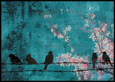 Poster with birds sitting on barbed wire with the text 'Life is beautiful'. The background is turquoise with pink branches. This cute poster looks great in a black frame and fits in most rooms. www.desenio.com