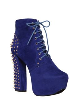 Fahrenheit Blue Studded Heel Boot IF I COULD GET THESE IN BLACK THAT'D BE GREAT BUT I LIKE THE BLUE TOO