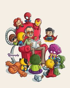 Stan Lee reading stories to marvel charecters. Marvel Dc Comics, Marvel Avengers, Marvel Jokes, Marvel Funny, Marvel Art, Marvel Heroes, Groot Avengers, Avengers Cartoon, Marvel Cartoons