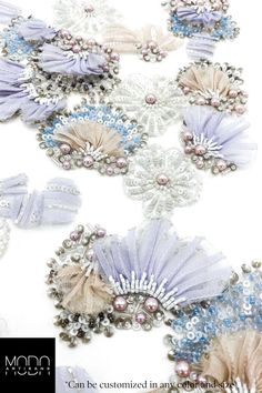 Pastel Flowers Lace Fabric, the perfect couture handmade appliqué for Wedding and Occasion dresses. Floral Embroidery Patterns, Baby Embroidery, Couture Embroidery, Embroidery Fashion, Embroidery Designs, Lace Fabric, Fabric Flowers, Fabric Embellishment, Couture Embellishment