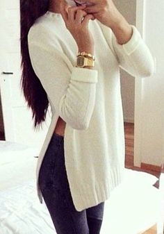 Beige Side Slit Tunic Sweater. I would need a skinny tee under it, but I would wear it.