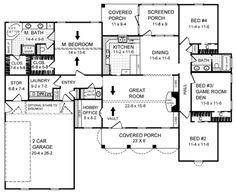 Country Style House Plan - 4 Beds 2.5 Baths 2000 Sq/Ft Plan #21-145 Floor Plan - Main Floor Plan - Houseplans.com