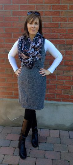 """""""I chose this grey #Tweed Boucle Shift #Dress as my style saver. I'm a stay-at-home-mum so my clothes need to be comfortable, practical and stylish. Soft stretchy material and the #herringbone pattern make this dress comfortable to wear and the 'v' at the neckline and the waistline buttons are lovely details that flatter the figure – as a pear shape, I like clothes that cinch in my waist."""" (Quote by @Avril Keys)"""